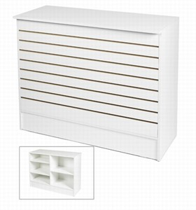 WHITE SLATWALL WRAP COUNTER | White Showcases