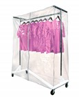 Garment Z-Rack w/ White Base Kit (Includes Cover Supports & Clear Vinyl Cover)
